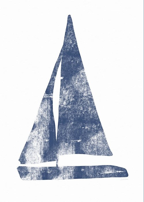 Boat Greeting Card featuring the painting Blue Sail Boat- Art By Linda Woods by Linda Woods