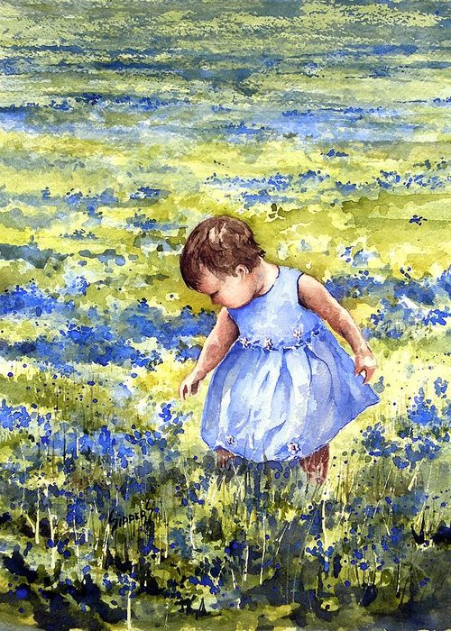 Blue Greeting Card featuring the painting Blue by Sam Sidders