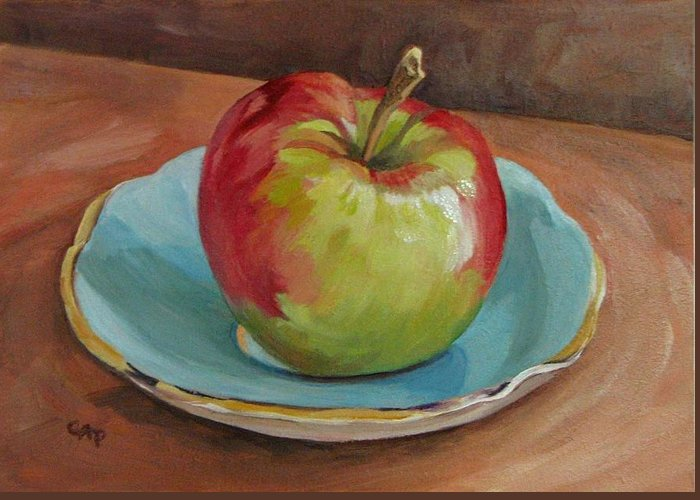 Still Life Greeting Card featuring the painting Blue Saucer With Apple by Cheryl Pass