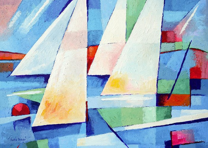 Abstract Sailboats Greeting Card featuring the painting Blue Sea Sails by Lutz Baar