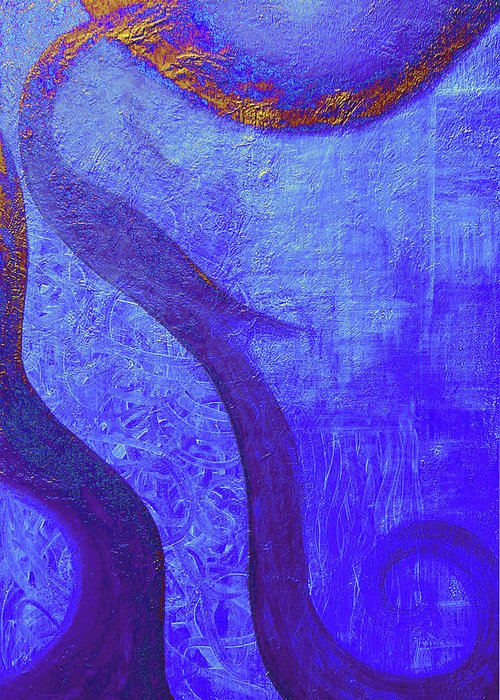 Blue Greeting Card featuring the painting Blue Seed by Ishwar Malleret