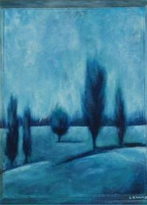 Blue Greeting Card featuring the painting Blue Serenity by Ellen Lewis