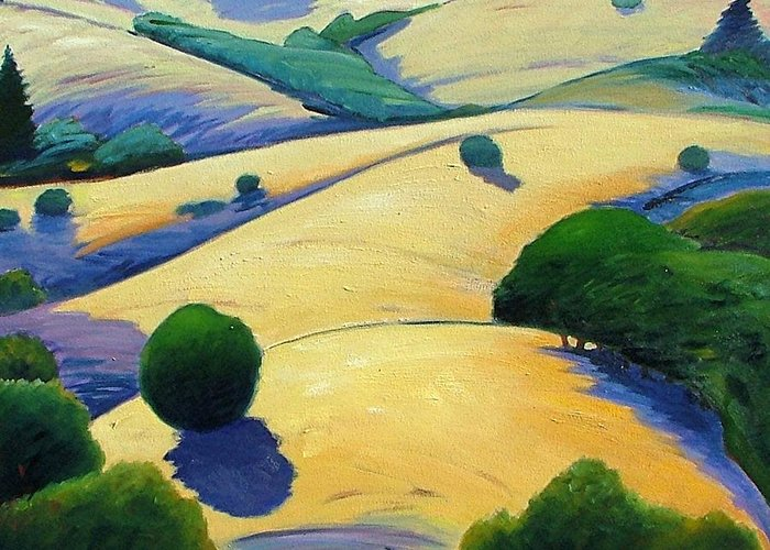 California Landscape Greeting Card featuring the painting Blue Shadows Of Sunset by Gary Coleman