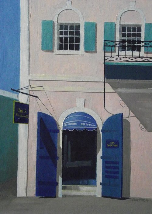 Main Street Charlotte Amalie Greeting Card featuring the painting Blue Shutters In Charlotte Amalie by Robert Rohrich