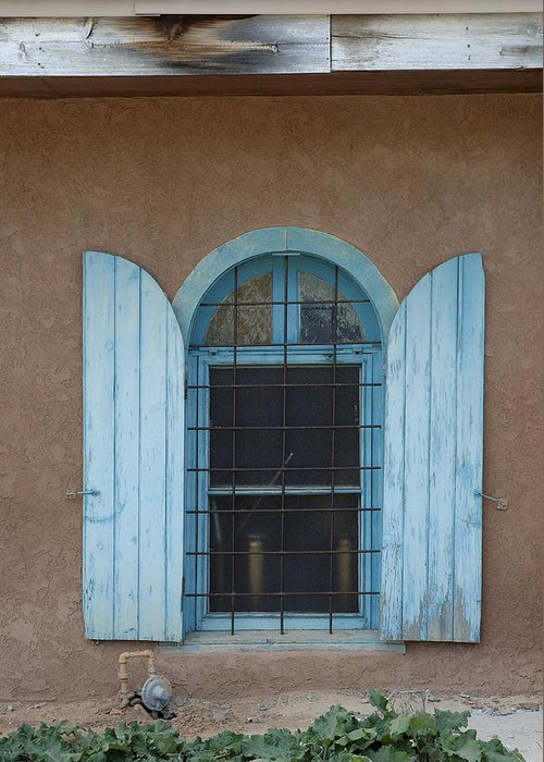 Adobe Greeting Card featuring the photograph Blue Shutters by Jerry McElroy