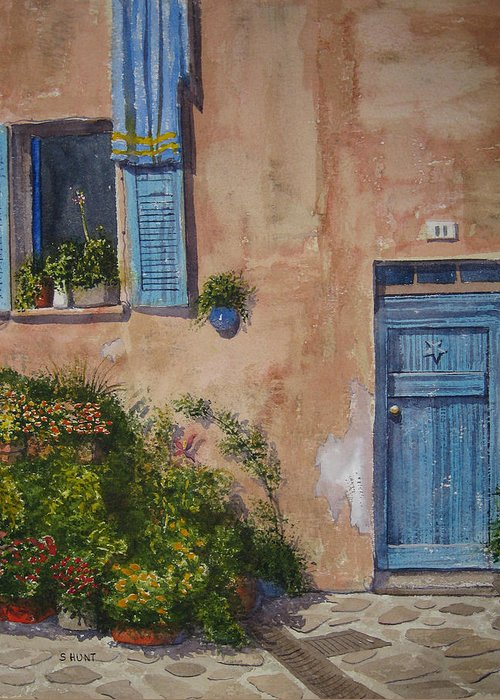 Landscape Greeting Card featuring the painting Blue Shutters by Shirley Braithwaite Hunt