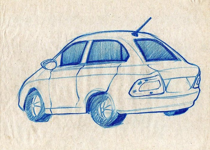 Makarand Joshi Greeting Card featuring the drawing Blue Sketch Of A Car From Left Rear View With A Rear Aerial by Makarand Joshi