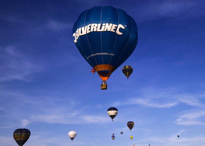 Balloon Fiesta Greeting Card featuring the photograph Blue Skies by Angel Ciesniarska