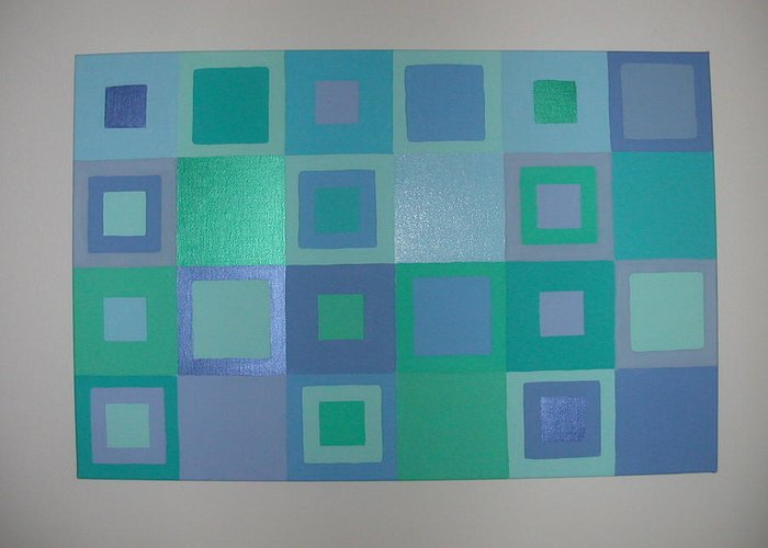Pastel Blue Metallic Squares Painting Greeting Card featuring the painting Blue Skies by Gay Dallek