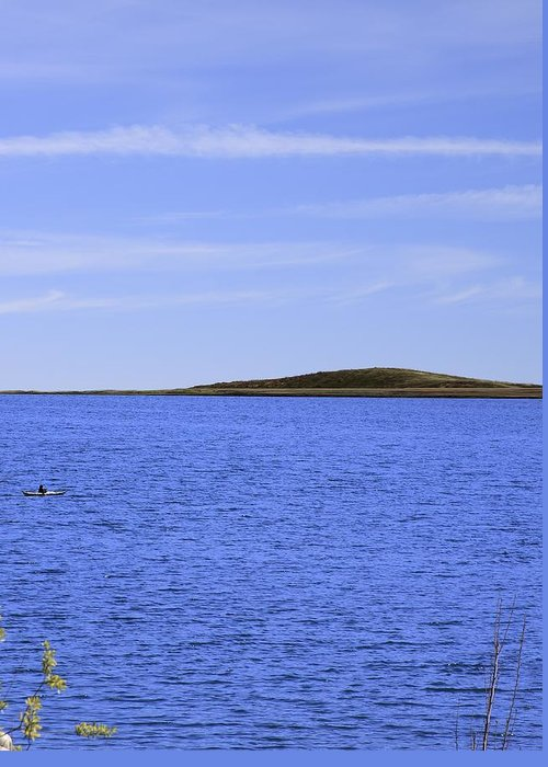 Blue Greeting Card featuring the photograph Blue Sky Blue Water And Earth Divider by Viktor Savchenko