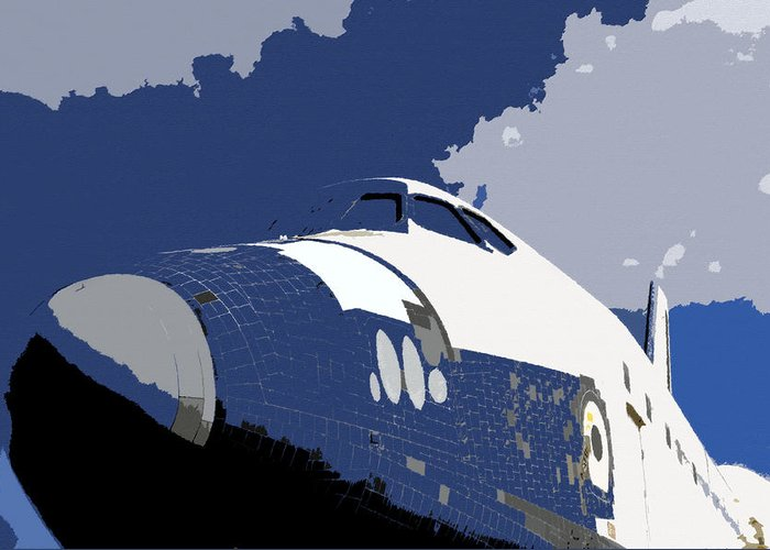 Art Greeting Card featuring the painting Blue Sky Shuttle by David Lee Thompson