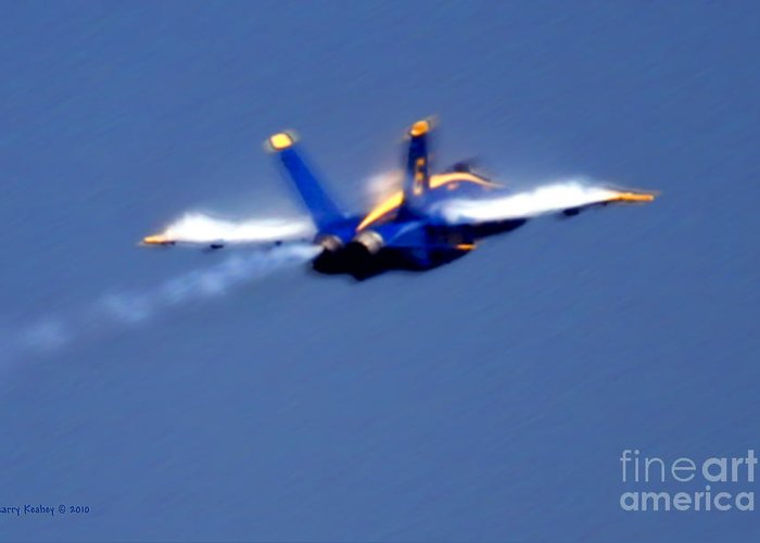 Blue Angles Greeting Card featuring the photograph Blue Solo by Larry Keahey