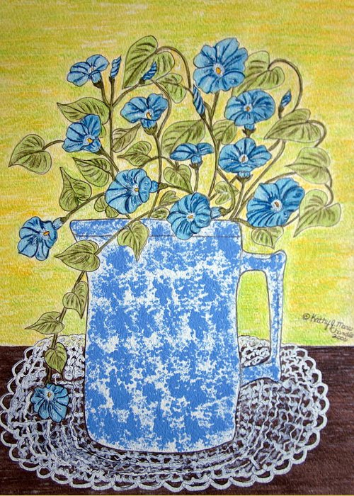 Blue Greeting Card featuring the painting Blue Spongeware Pitcher Morning Glories by Kathy Marrs Chandler