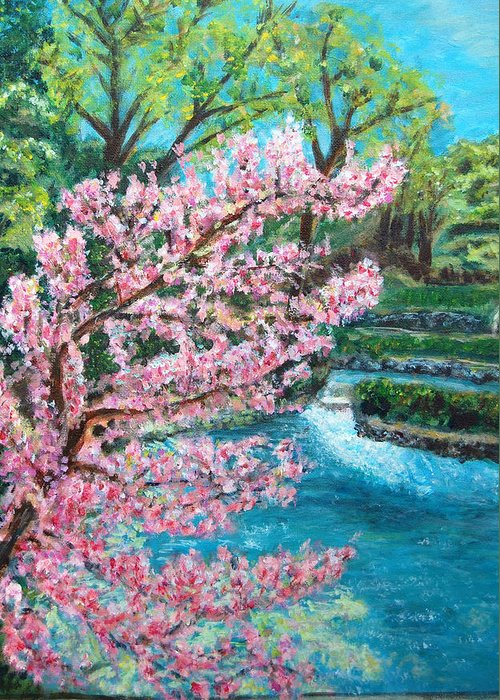 Blue Spring Greeting Card featuring the painting Blue Spring by Carolyn Donnell
