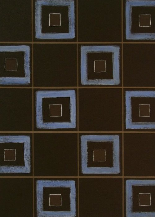 Contemporary Greeting Card featuring the painting Blue Squares by Sandy Bostelman