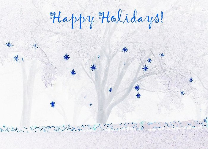 Christmas Greeting Card featuring the photograph Blue Star Tree by Ellen O'Reilly