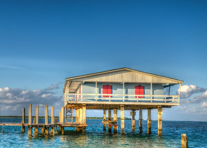 Stiltsville Greeting Card featuring the photograph Blue Stiltsville House by Coco Moni