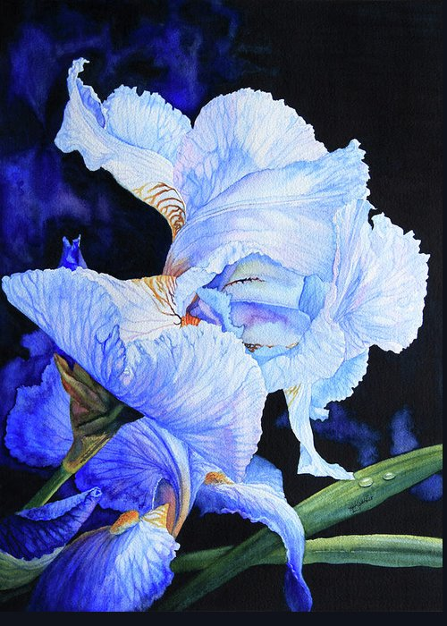 Floral Painting Greeting Card featuring the painting Blue Summer Iris by Hanne Lore Koehler