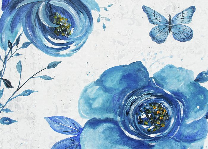 Blue Greeting Card featuring the painting Blue Symphonie In The Garden 1 by Jean Plout