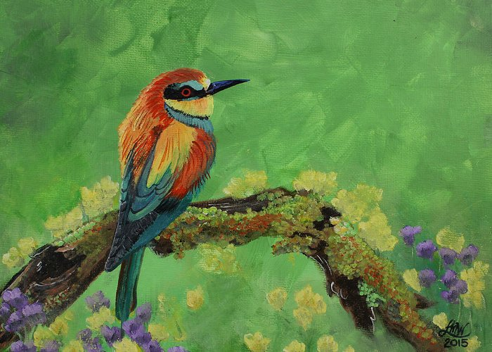 Bird Greeting Card featuring the painting Blue Tailed Bee Eater by Laura Wilson