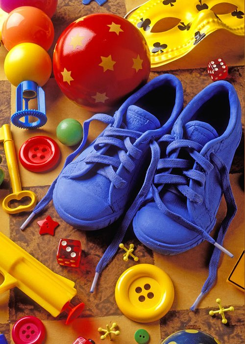 Shoes Greeting Card featuring the photograph Blue Tennis Shoes by Garry Gay