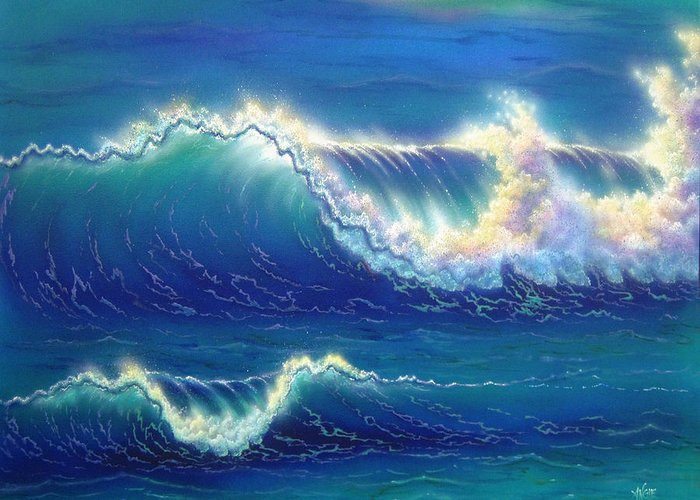 Seascape Greeting Card featuring the painting Blue Thunder by Angie Hamlin