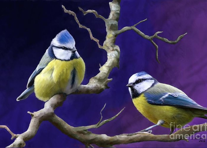 Blue Titmouse Greeting Card featuring the painting Blue Titmouse by Judy Filarecki