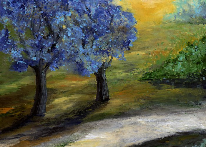 Trees Greeting Card featuring the painting Blue Trees by Laura Swink