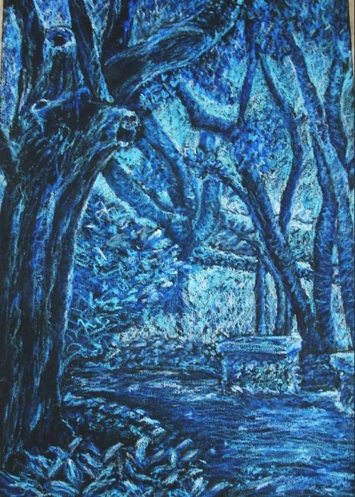 Trees Greeting Card featuring the pastel Blue Trees by Patricia Gomez
