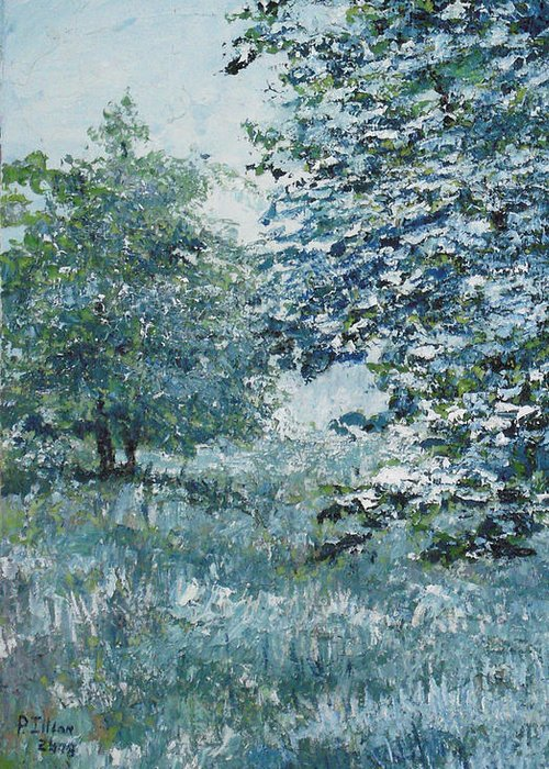 Tree Greeting Card featuring the painting Blue Trees by Paul Illian
