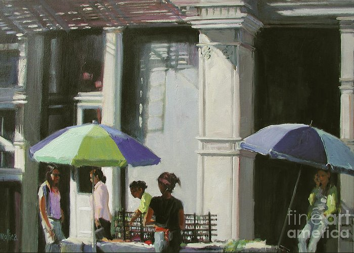 City Greeting Card featuring the painting Blue Umbrellas by Patti Mollica