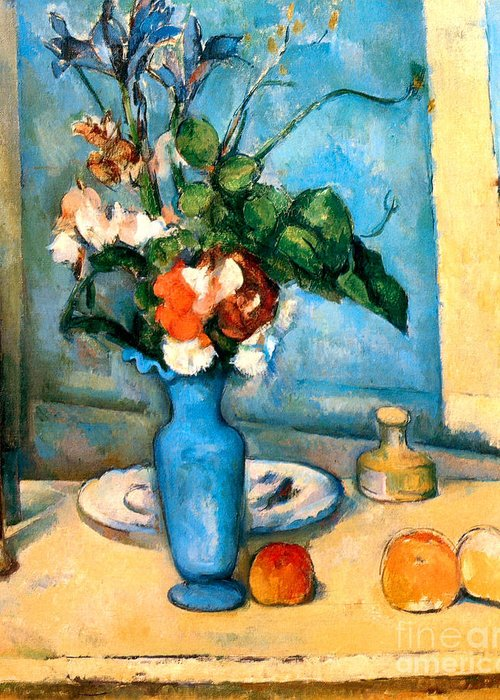 Pd Greeting Card featuring the painting Blue Vase By Paul Cezanne by Pg Reproductions