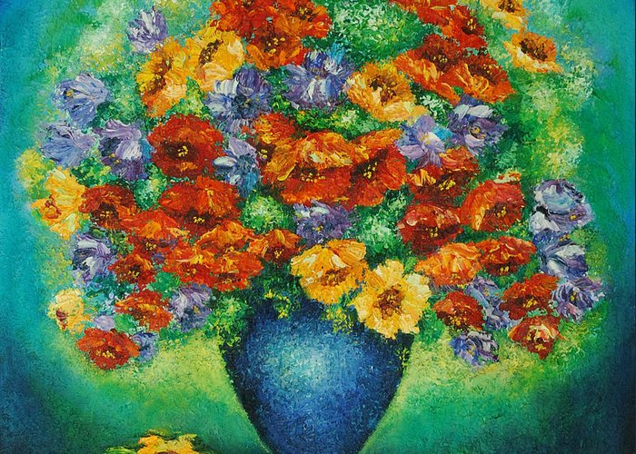 Flowers Greeting Card featuring the painting Blue Vase. by Evgenia Davidov