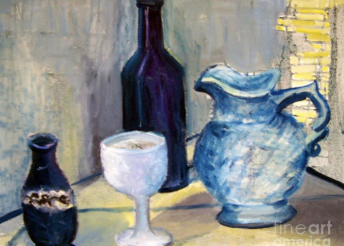 Still Life Greeting Card featuring the painting Blue Vases by Geraldine Liquidano