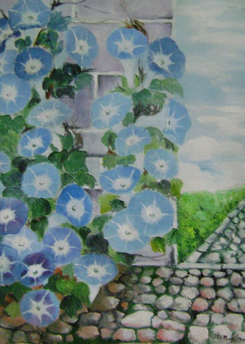 Floral Greeting Card featuring the painting Blue Wall by Lian Zhen