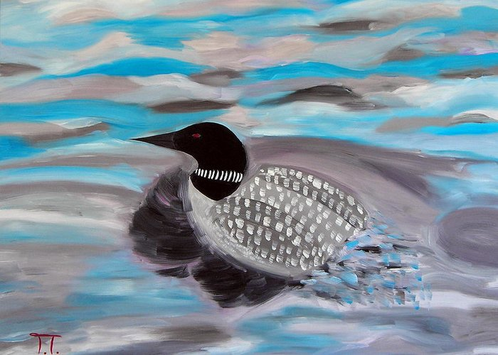 Loon Swimming Current Blue Water Greeting Card featuring the painting Blue Water And Loon by Troy Thomas