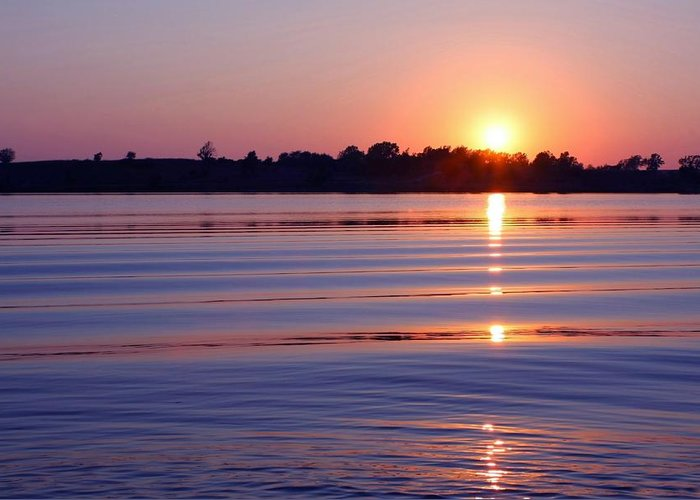 Sunset Greeting Card featuring the photograph Blue Water Sunset by Jim Darnall