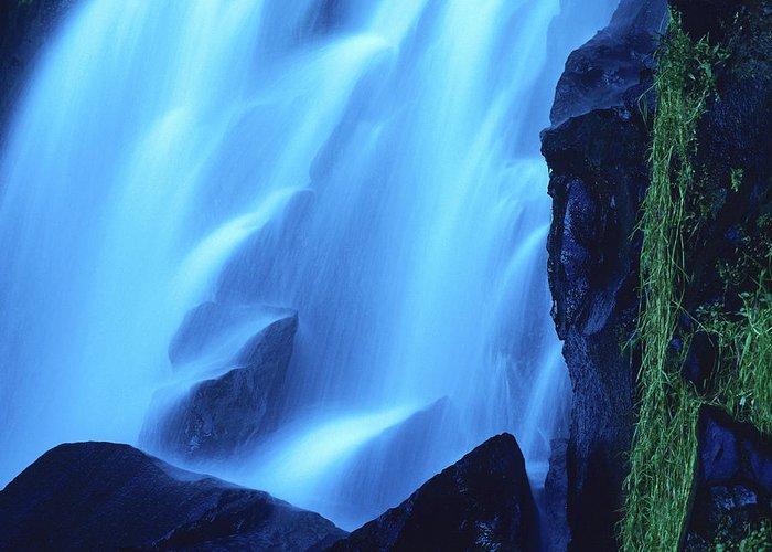 French Greeting Card featuring the photograph Blue Waterfall by Bernard Jaubert