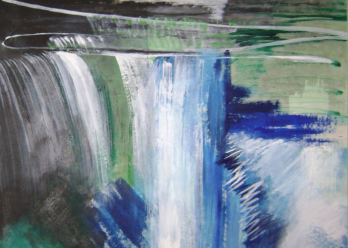 Abstract Greeting Card featuring the mixed media Blue Waterfalls by Lian Zhen