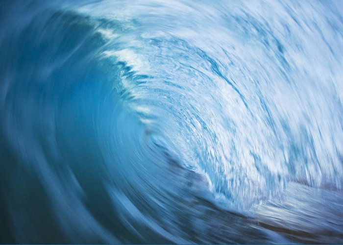 Abstract Greeting Card featuring the photograph Blue Wave Tube Blur by MakenaStockMedia