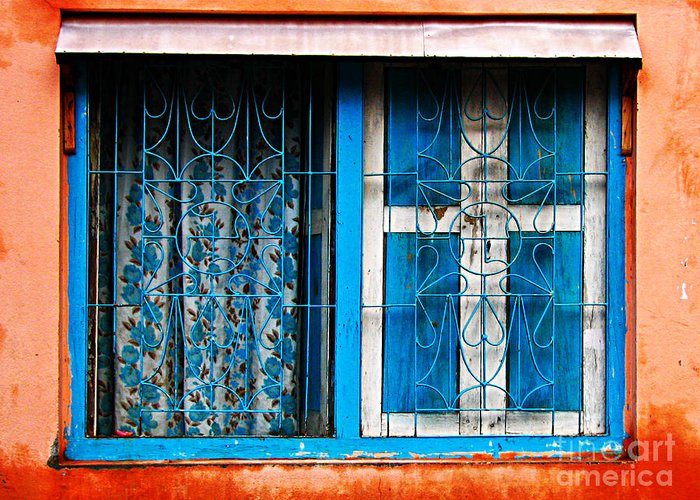 Window Greeting Card featuring the photograph Blue Window by Derek Selander
