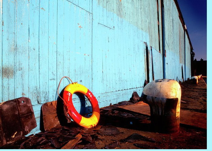 Dockside Greeting Card featuring the photograph Blue Yellow And Red by Peter OReilly