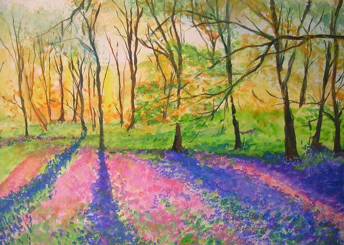Landscape Greeting Card featuring the painting Bluebell Wood by Lizzy Forrester