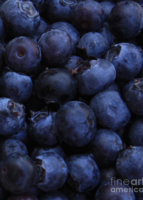 Blueberries Greeting Card featuring the photograph Blueberries Close-up - Vertical by Carol Groenen