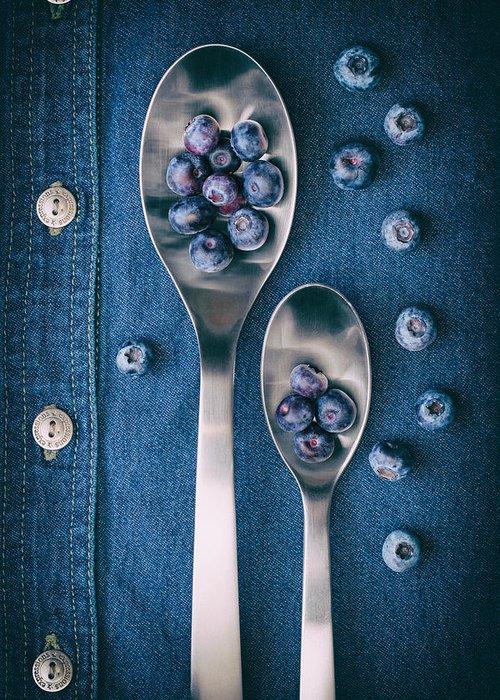 Abundance Greeting Card featuring the photograph Blueberries on Denim I by Tom Mc Nemar