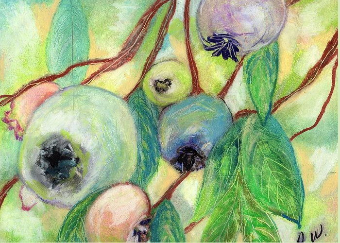 Blueberries Greeting Card featuring the painting Blueberries by Pamela Wilson