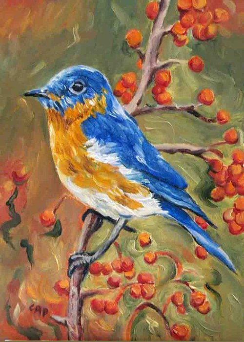 Bluebird Greeting Card featuring the painting Bluebird by Cheryl Pass