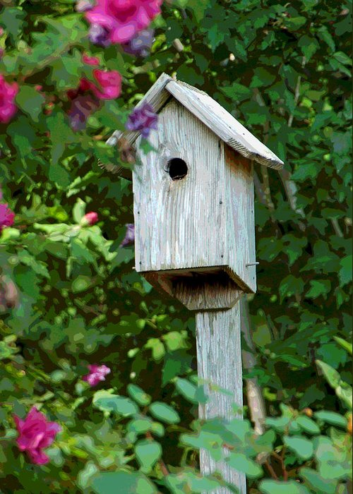 Bluebird House Greeting Card featuring the photograph Bluebird Haven by Suzanne Gaff