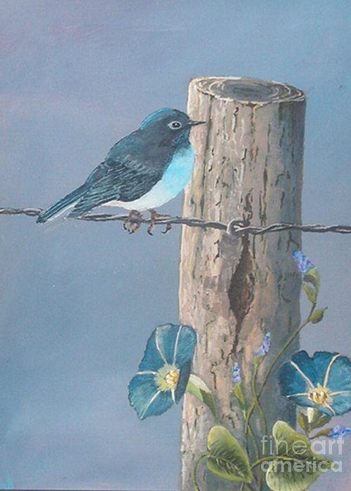 Bluebird Greeting Card featuring the painting Bluebird by John Wise