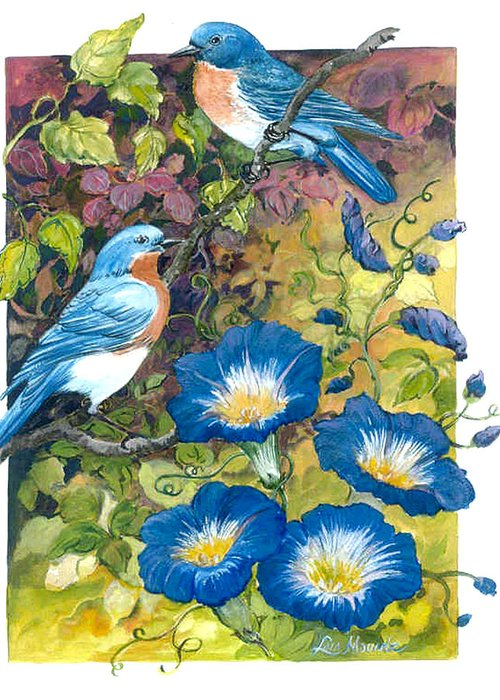 Bluebirds;birds;morning Glories;watercolor; Greeting Card featuring the painting Bluebirds And Morning Glories by Lois Mountz